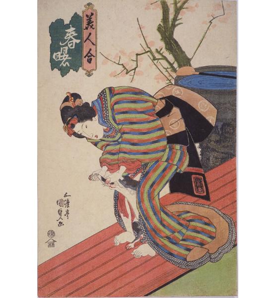 歌川国貞の美人画、春曙