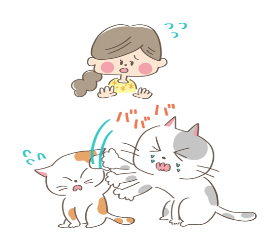 やきもちをやいている相手に攻撃する猫のイラスト
