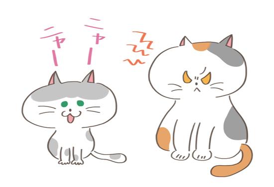 他の猫に対してやきもちをやく猫のイラスト