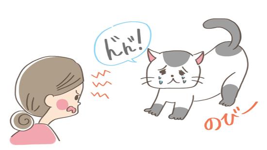反省して伸びをする猫のイラスト