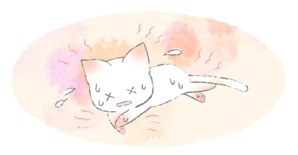 耳や肉球から放熱する猫のイラスト