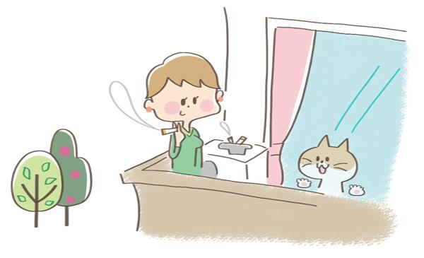 猫がタバコを食べないようにする予防イラスト