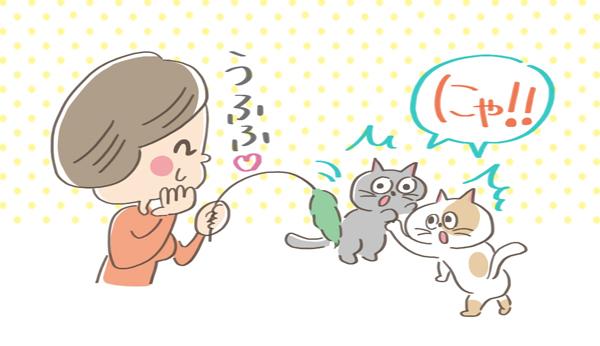 興奮している猫の気をそらせる飼い主のイラスト