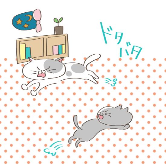 本能から興奮してしまっている猫のイラスト