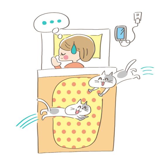 興奮している猫を放置する飼い主のイラスト