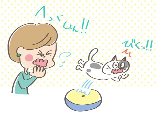 大きな音に興奮した猫のイラスト