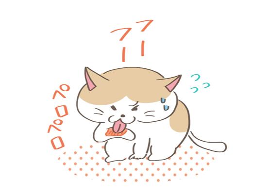痛い思いをして興奮している猫のイラスト