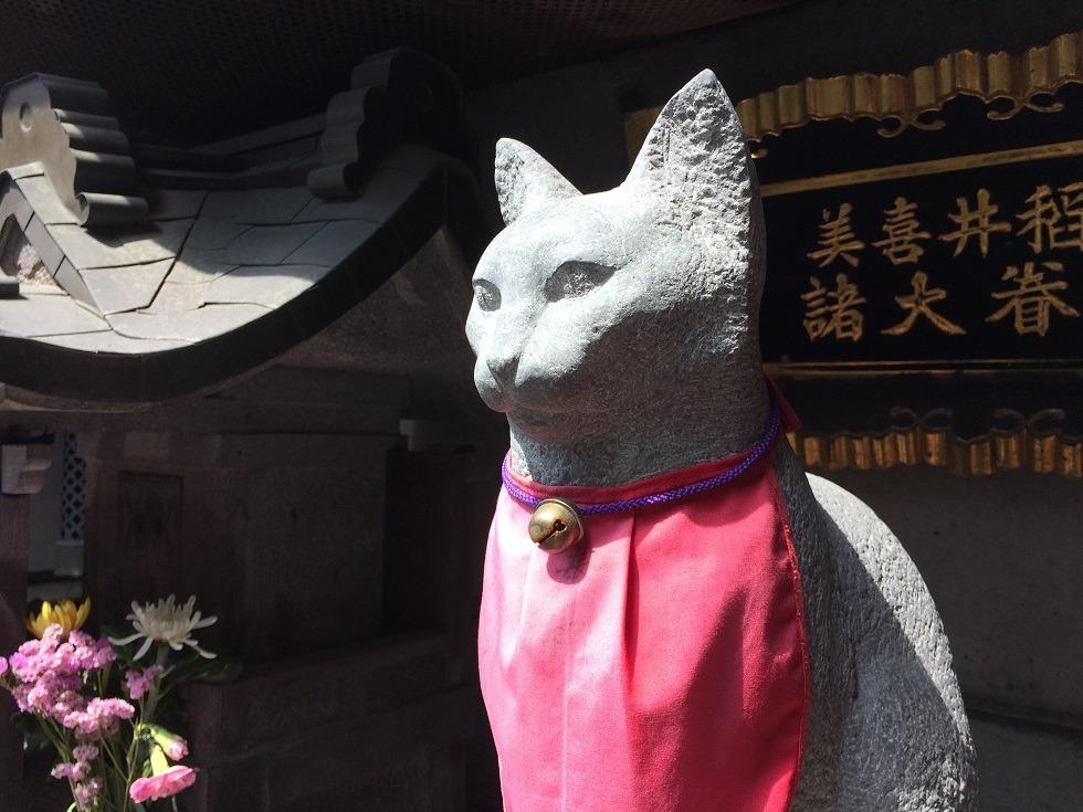 美喜井稲荷の猫像の写真